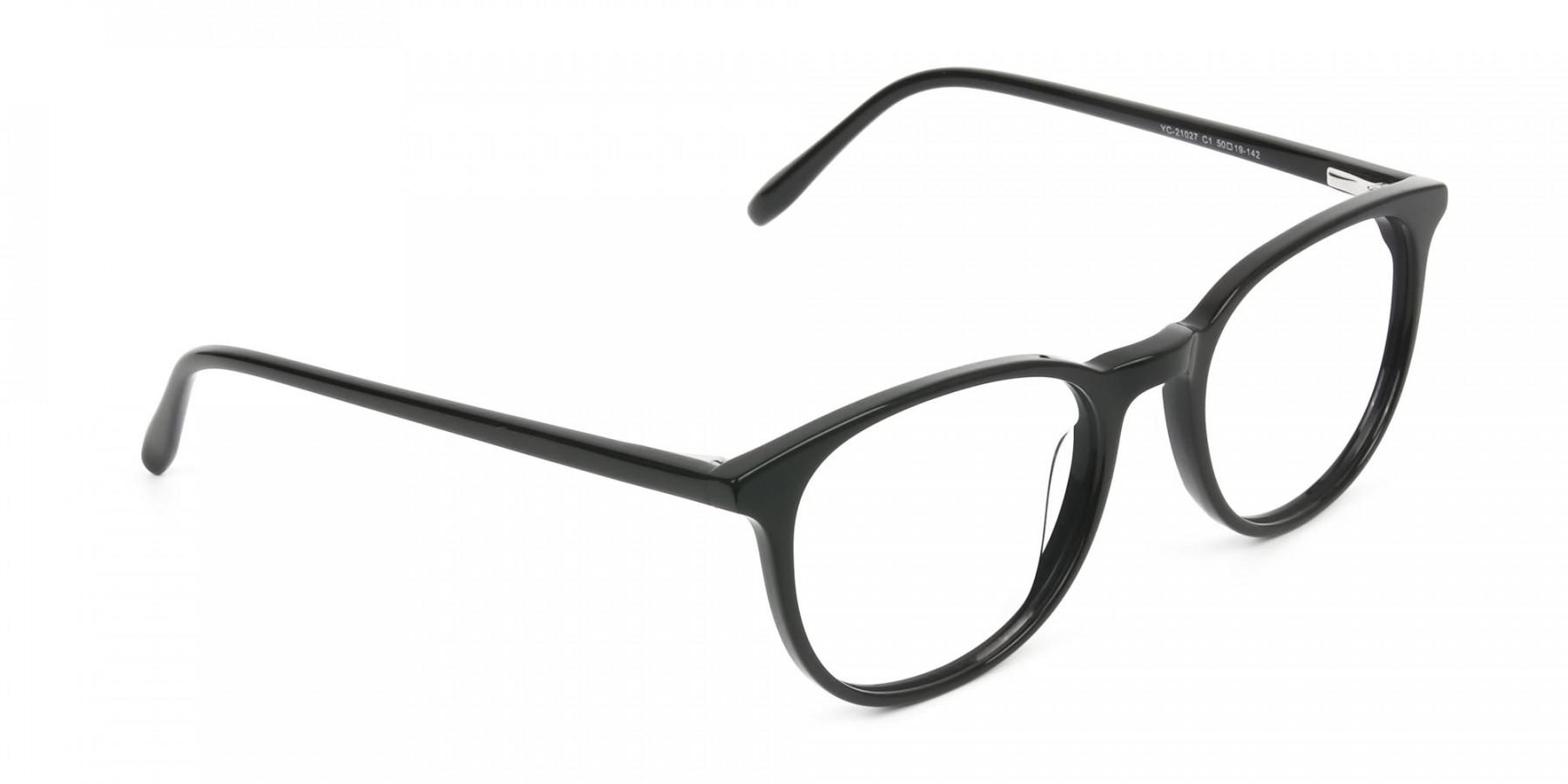 Round Black Eyeglasses in Full-Rim - 1