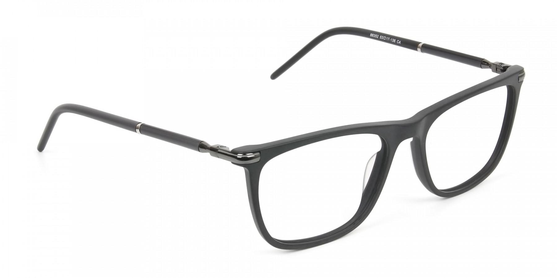 Matte Grey Rectangular Spectacles in Acetate - 1