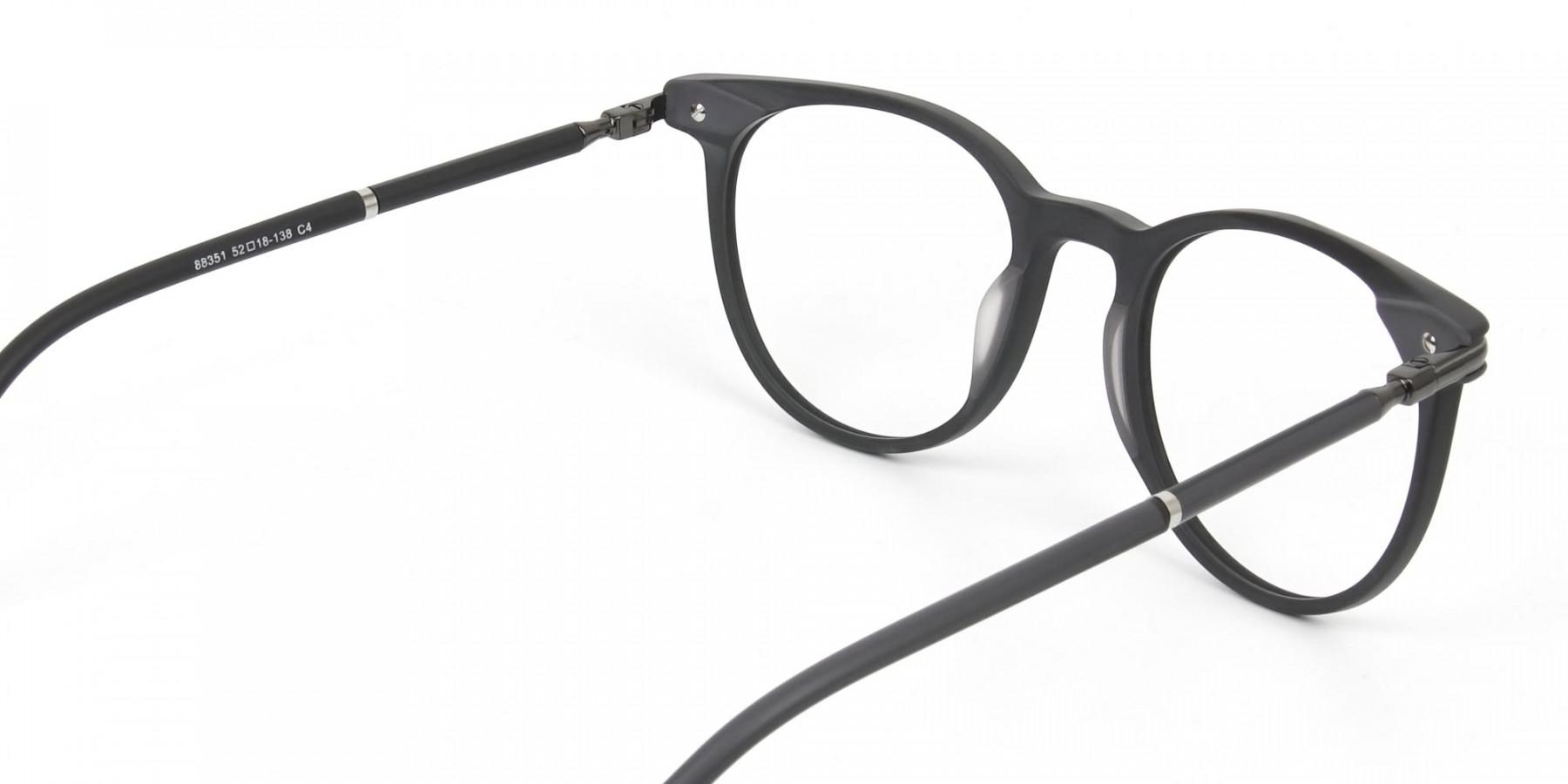 Matte Black Round Spectacles in Acetate - 1