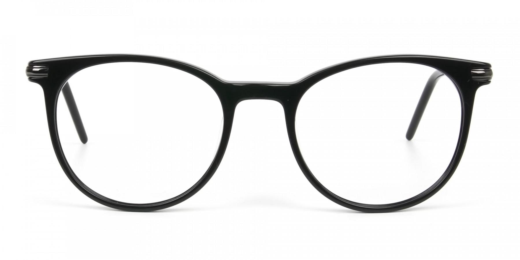 Black Round Spectacles in Acetate - 1