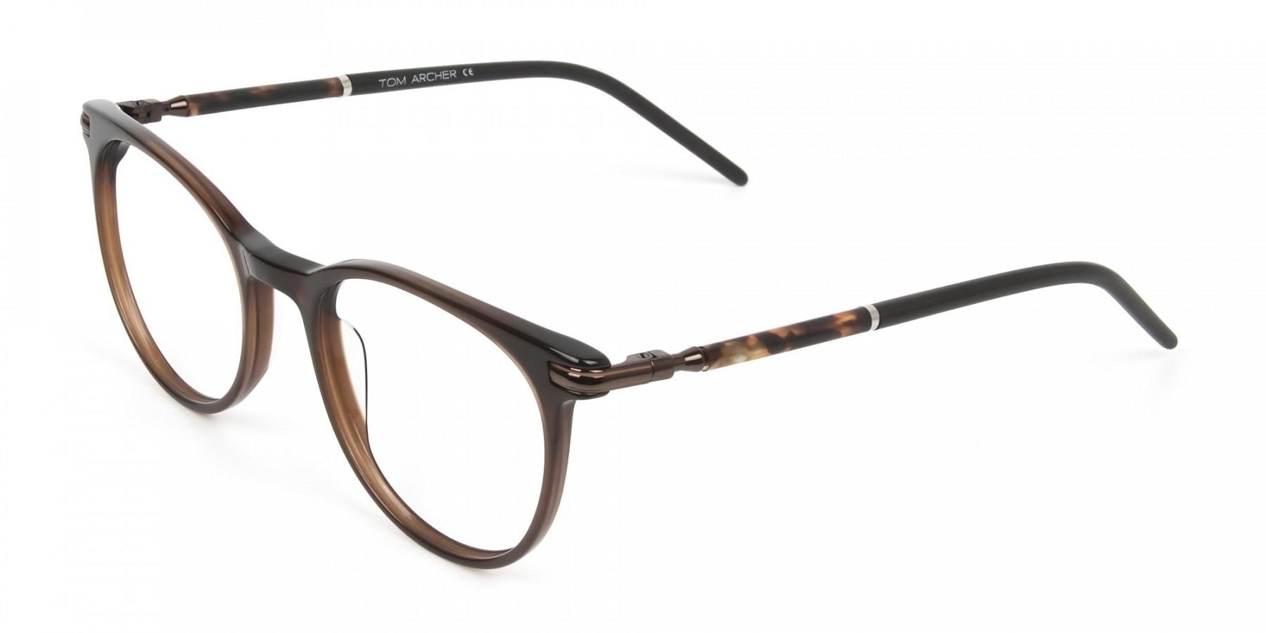 Dark Brown Round spectacles in Acetate - 1