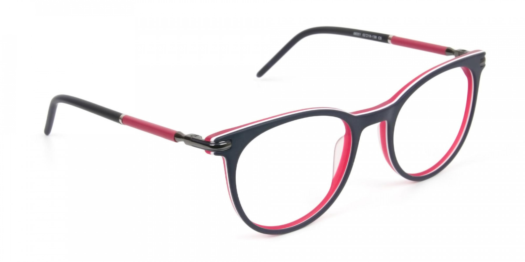 Navy Blue & Red Round Spectacles in Acetate - 1