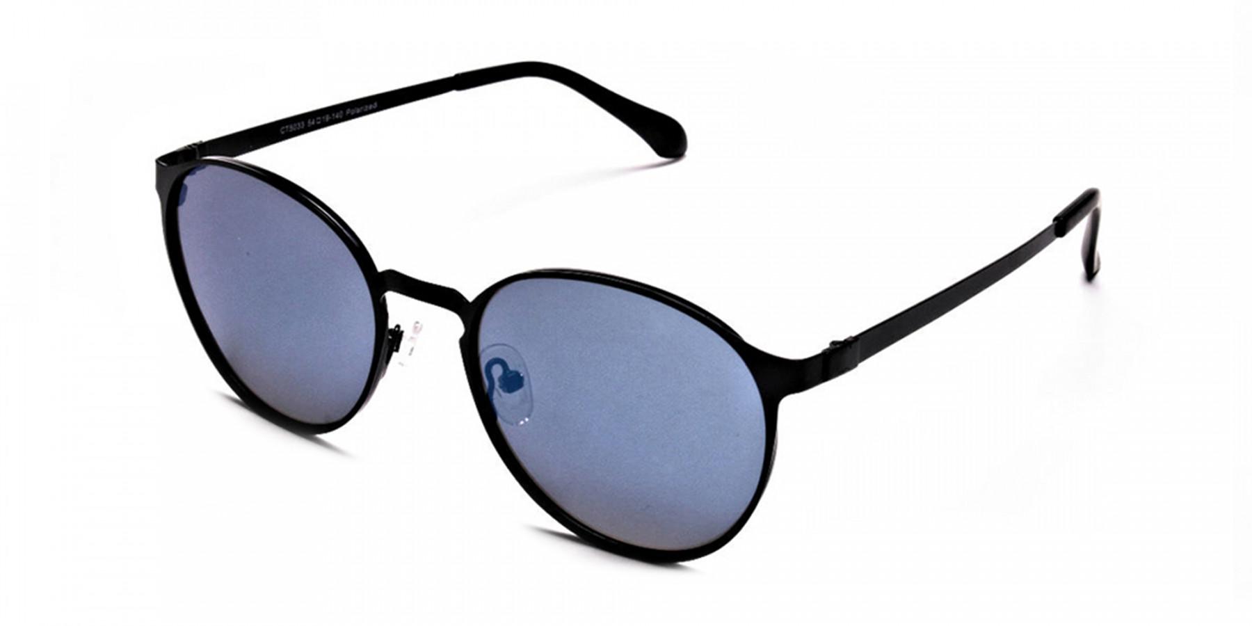 Retro Round Blue Sunglasses - 2