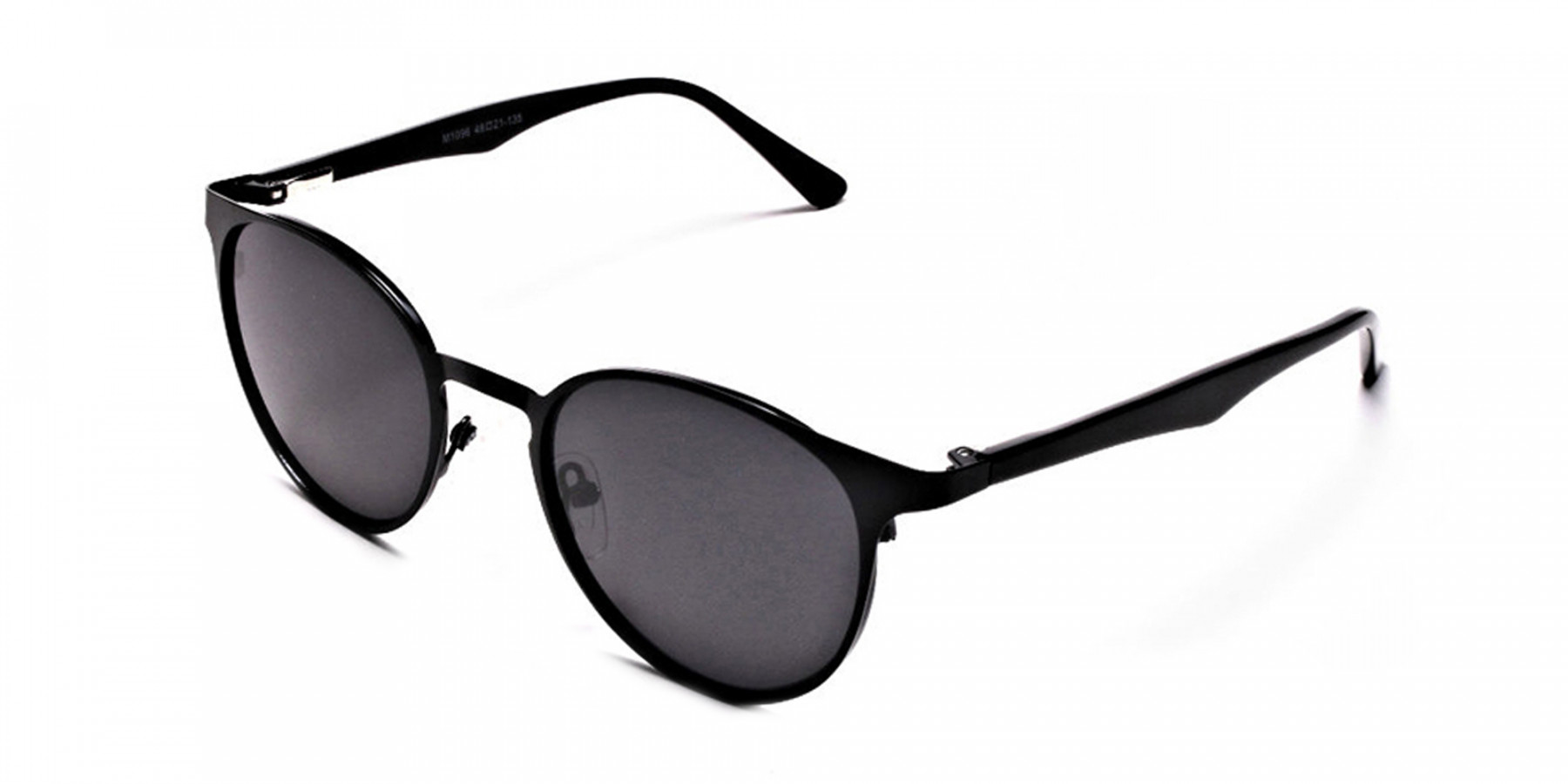Black Retro Round Sunglasses - 2