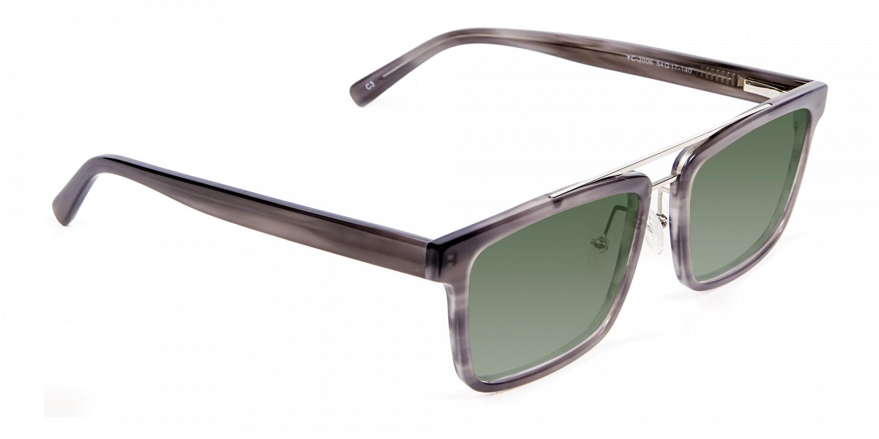 Unisex Dark Green Rectangular Sunglasses  Specscart-3
