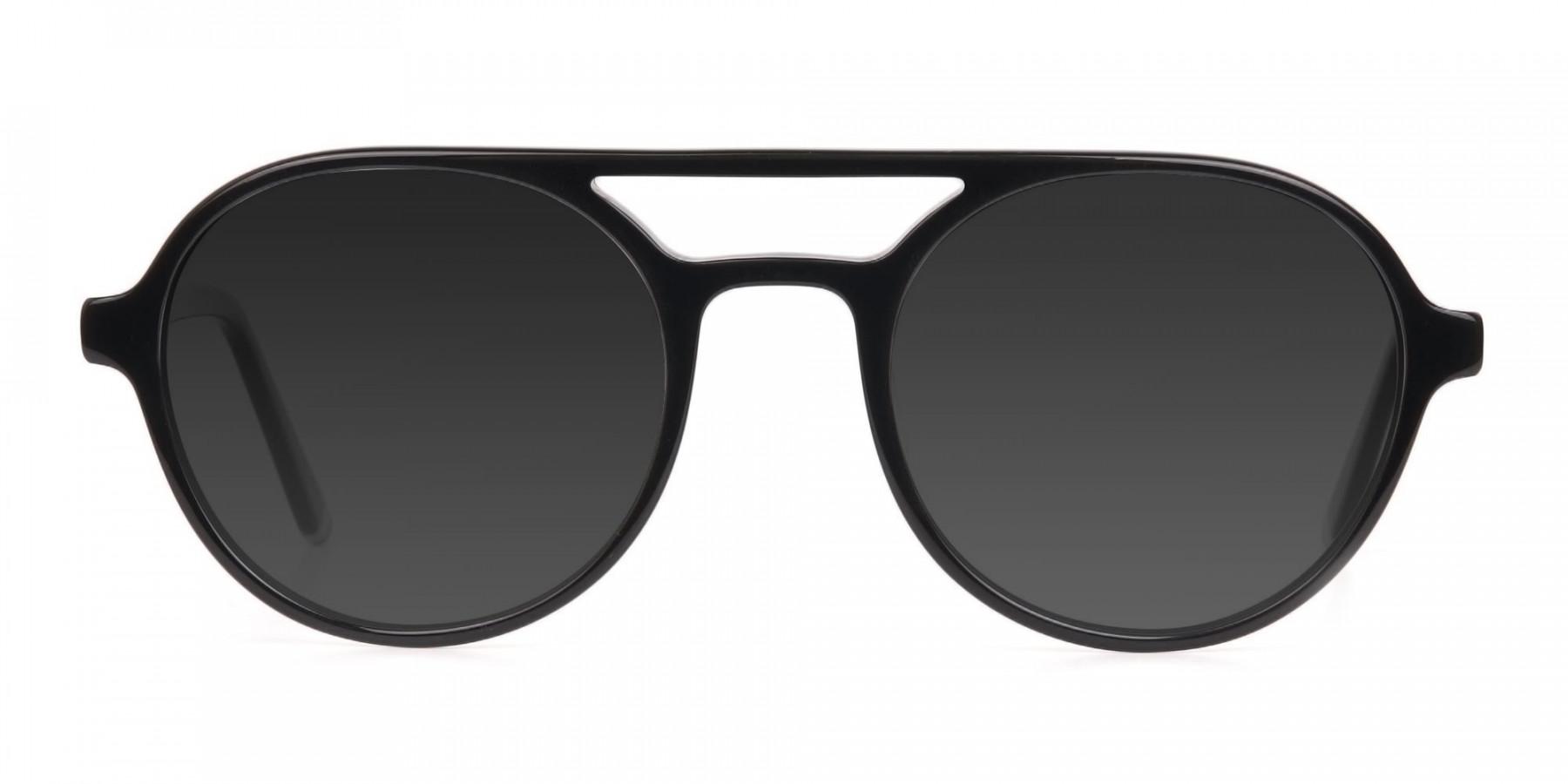 Black Aviator Sunglasses with Dark Grey Lenses - 3