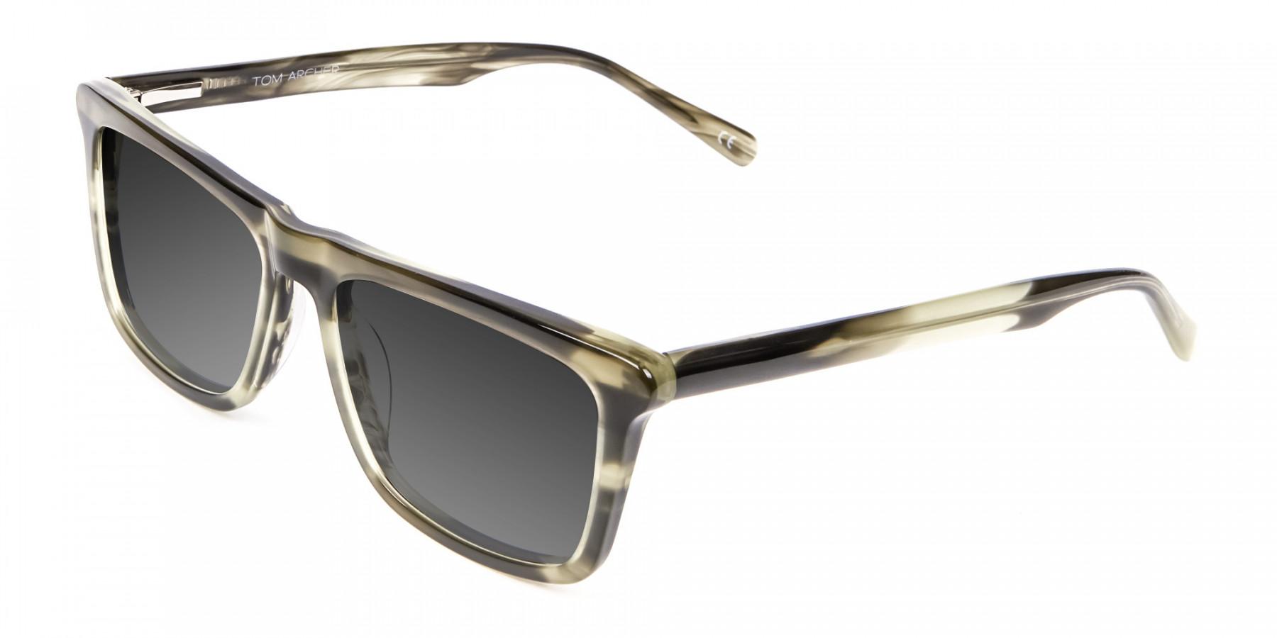 Men's Women's Havana Green Rectangular Sunglasses UK-3