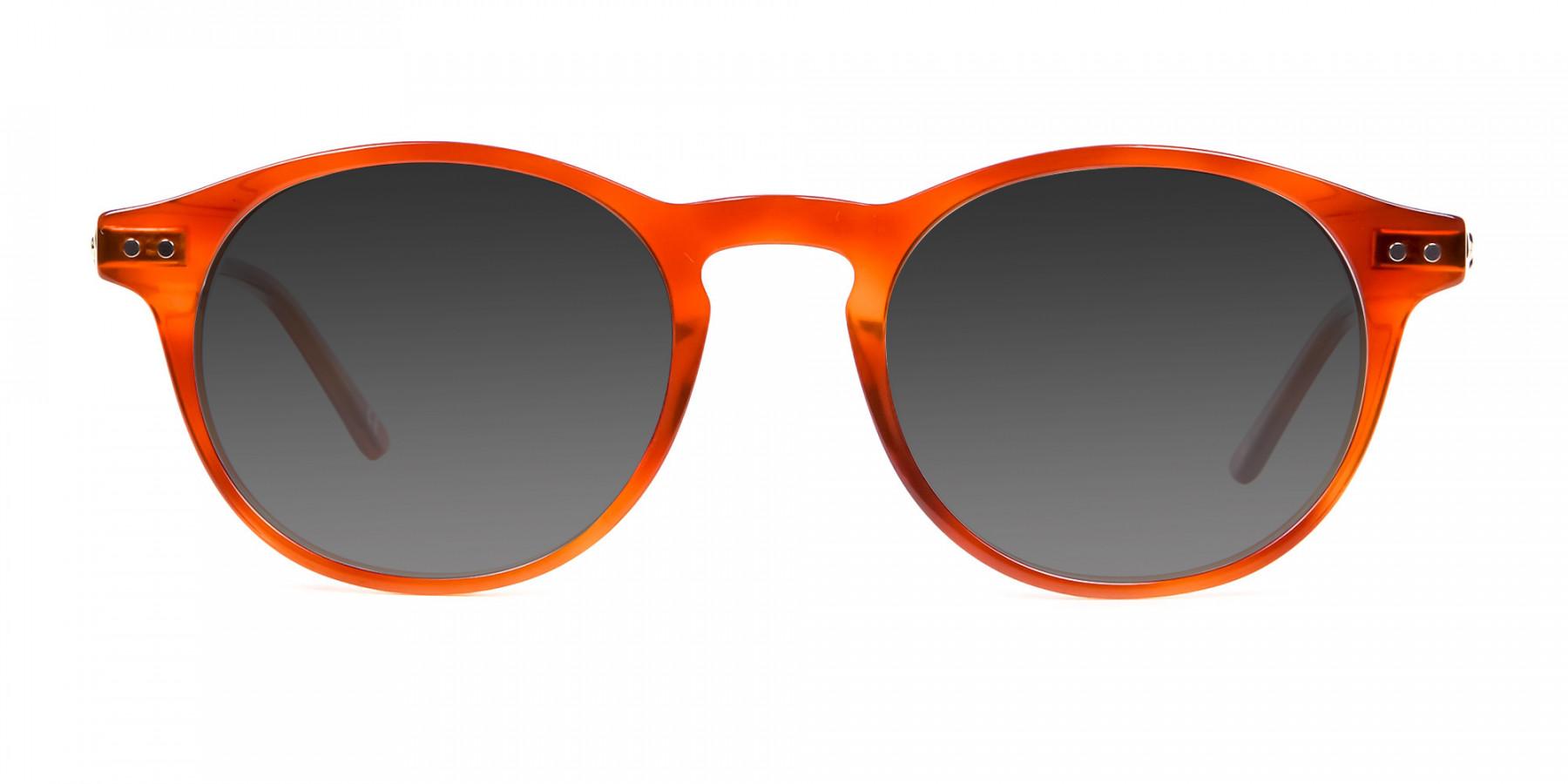 Caramel Grey Round Sunglasses Men Women-3