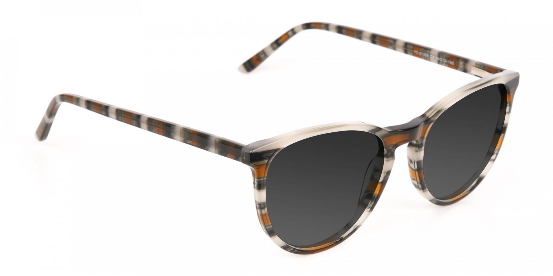 Silver Grey & Brown Striped Sunglasses - 3