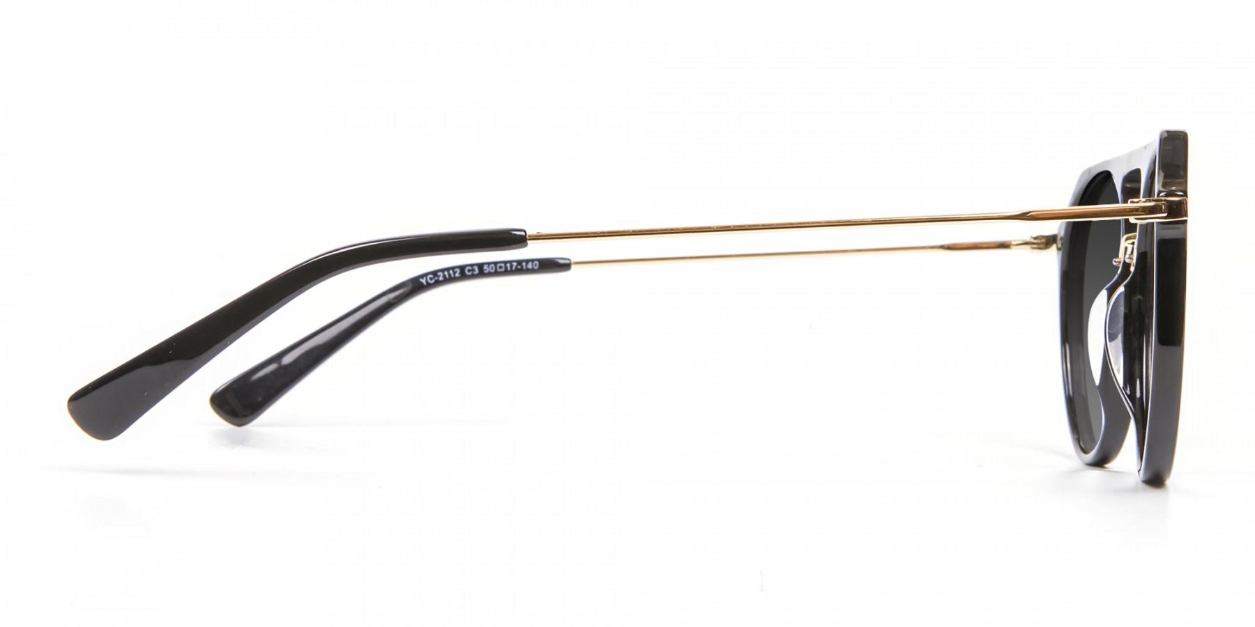 Black & Gold Double-Bridged Sunglasses-3