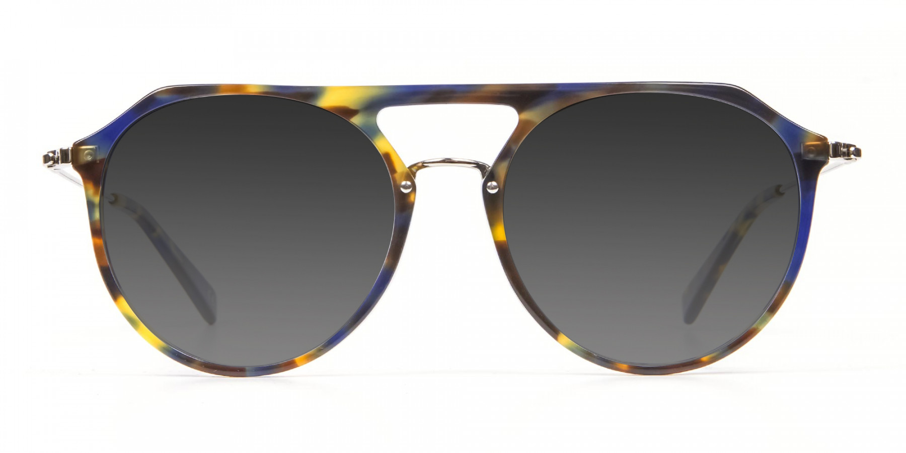 Grey Double-Bridged Aviator Sunglasses-3