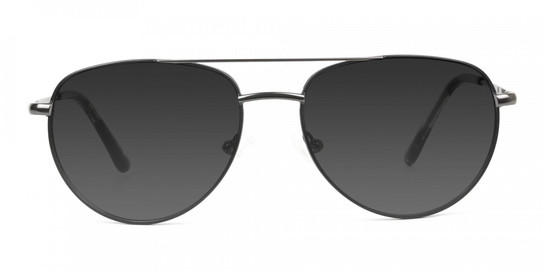 Grey Tinted Dark Navy Blue Aviator Sunglasses - 3