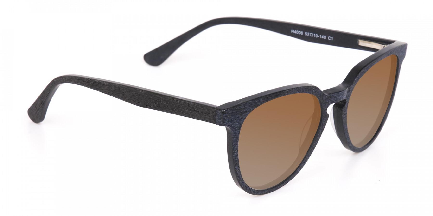 Black Wood Sunglasses with Dark Brown Tint - 3