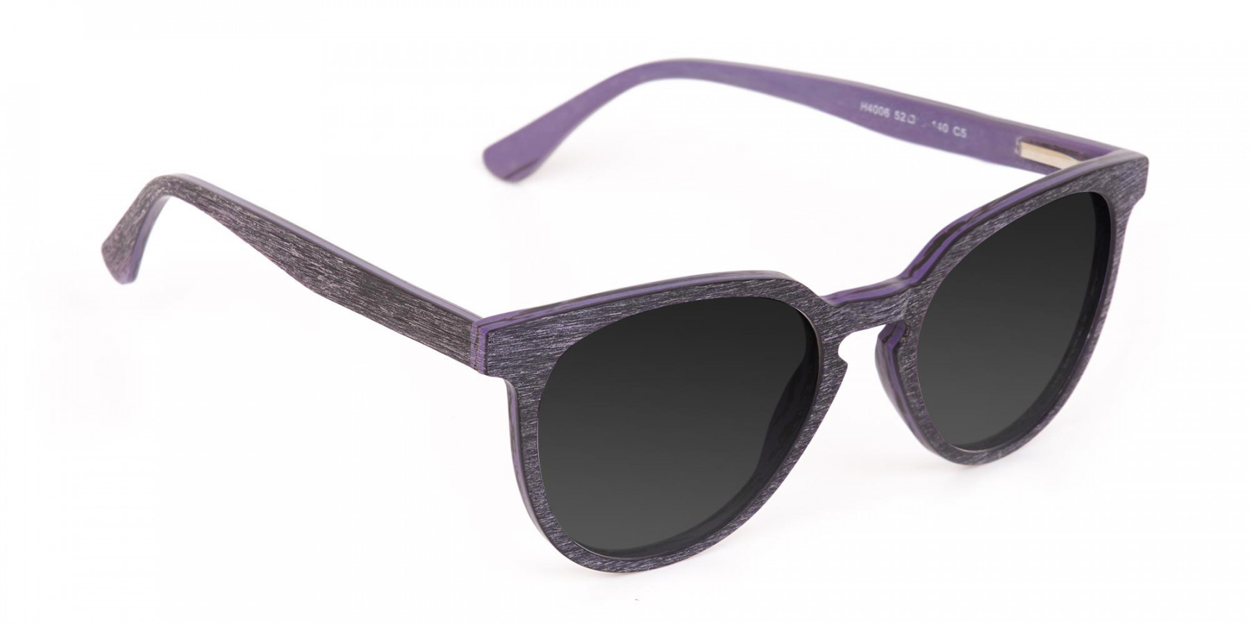 Dark Purple Wooden Frame Sunglasses - 3