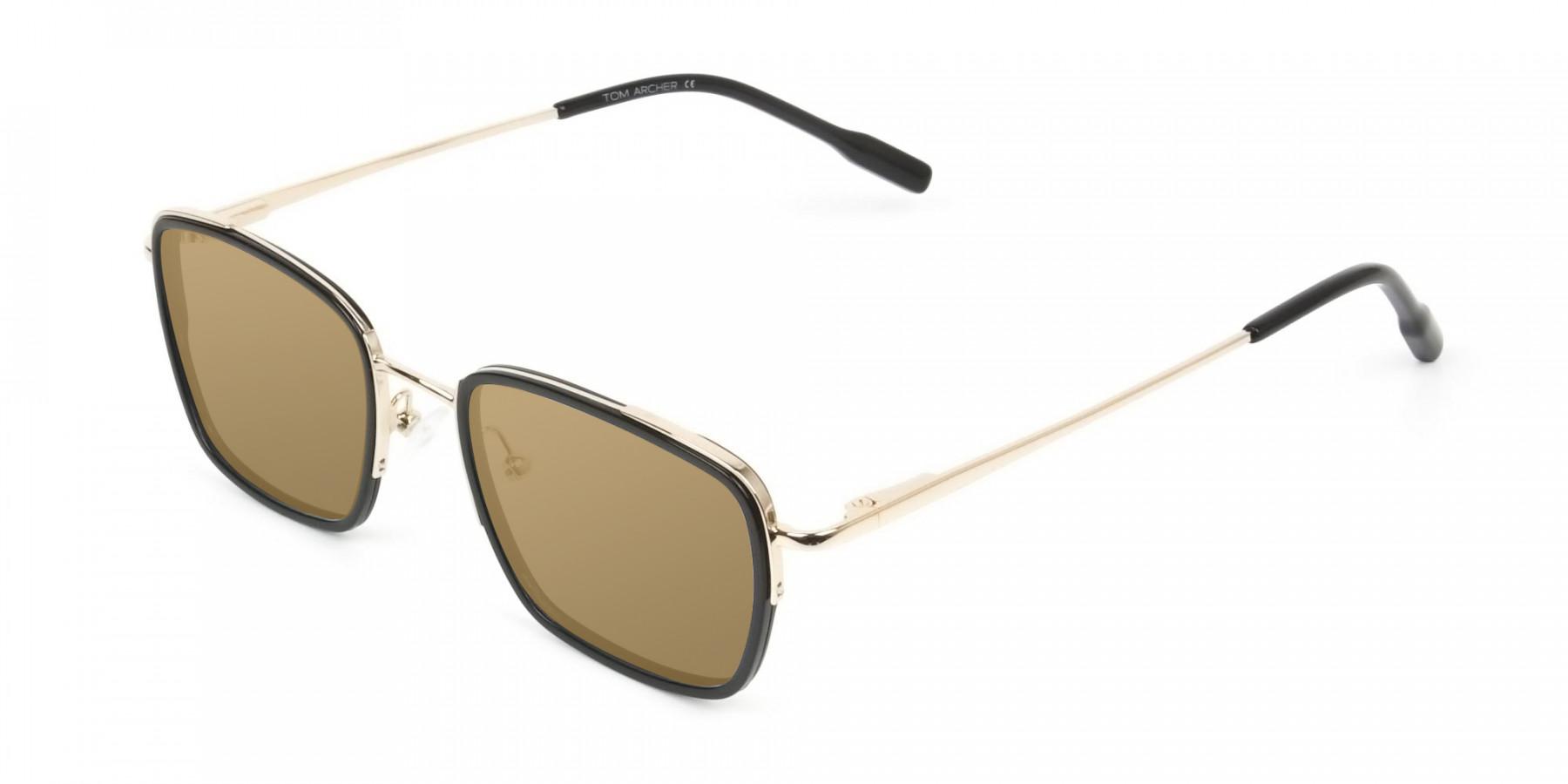 Dark Brown Tinted Black & Gold Square Wayfarer Sunglasses - 3