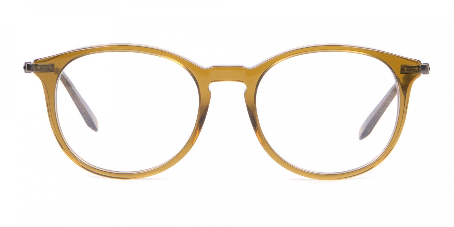 Salvatore Ferragamo SF2123 Retro Round Glasses Khaki-1