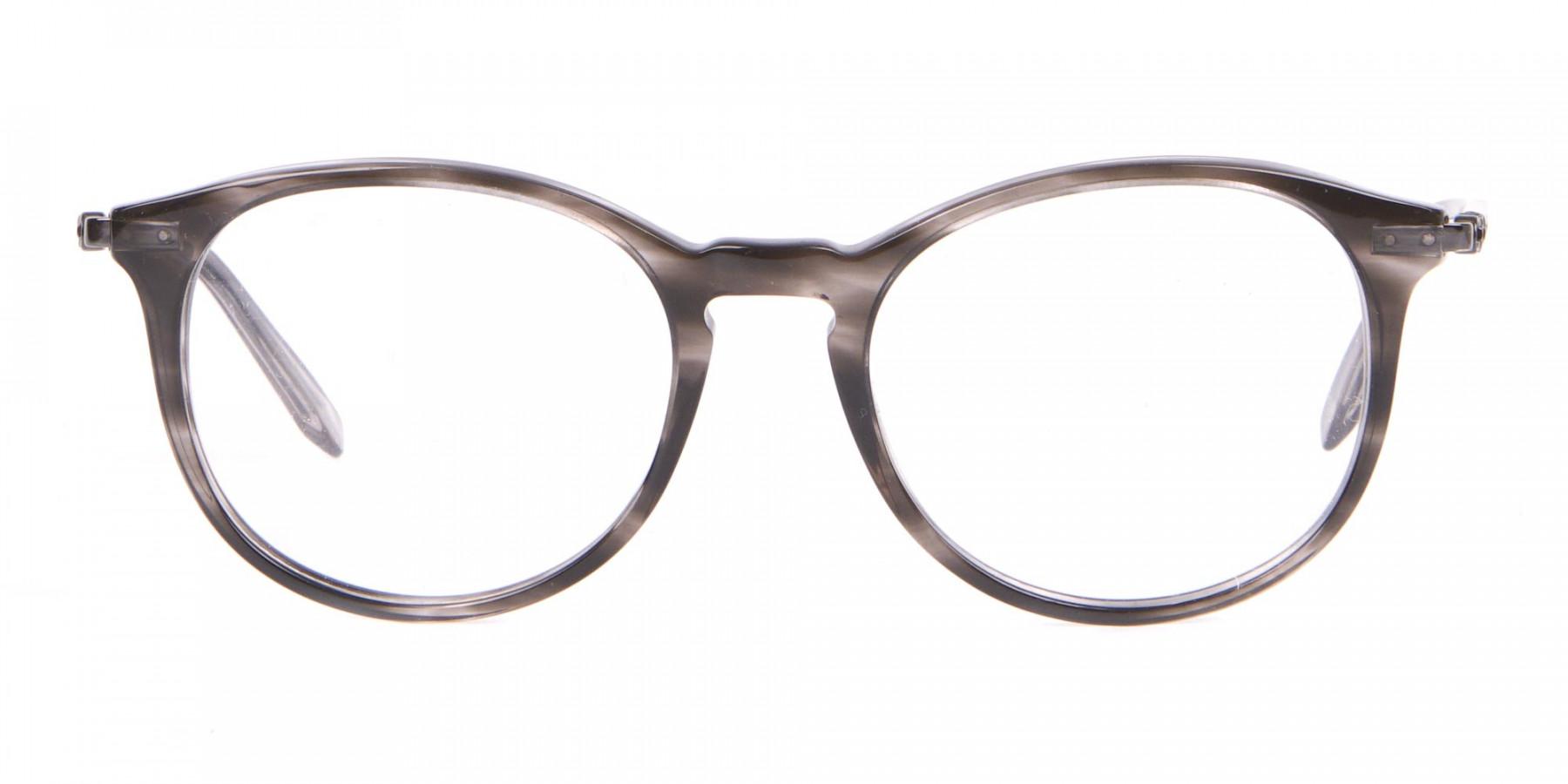 Salvatore Ferragamo SF2123 Retro Round Glasses Grey Horn-1
