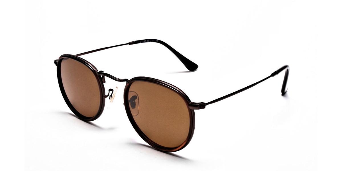 Fashion Brown Round Sunglasses - 2