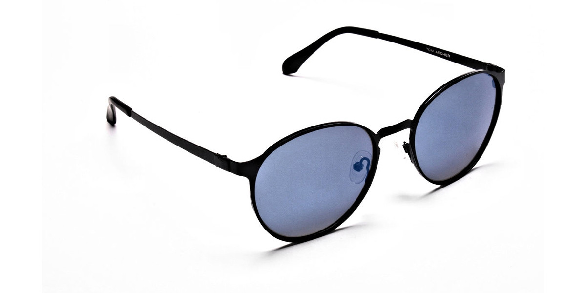 Retro Round Blue Sunglasses - 2
