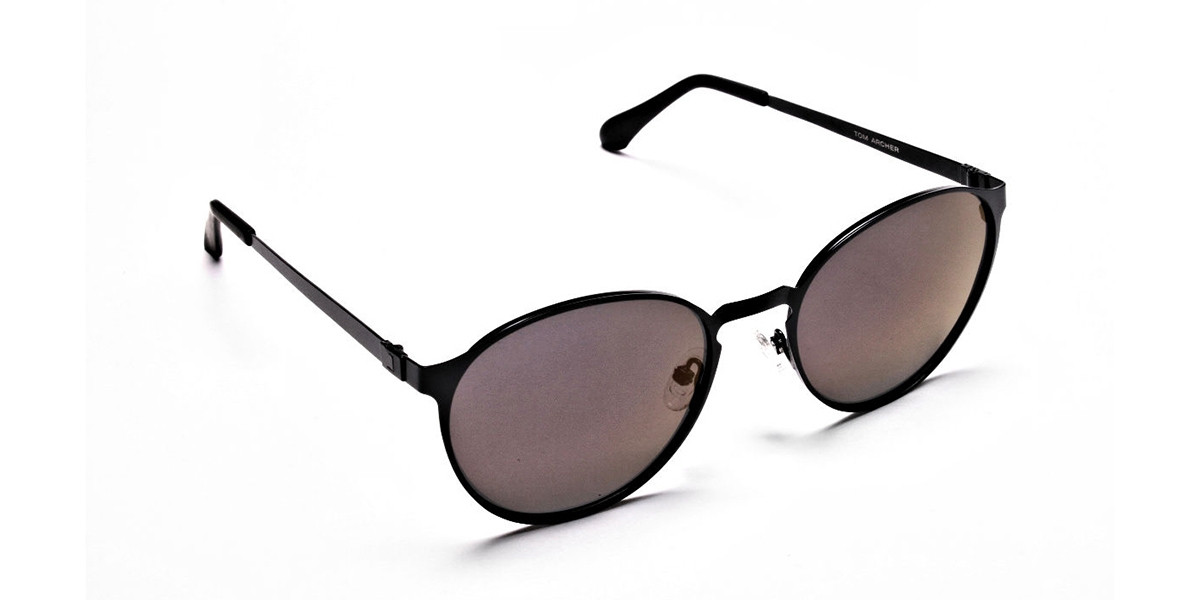 Black Purple Round Sunglasses - 2