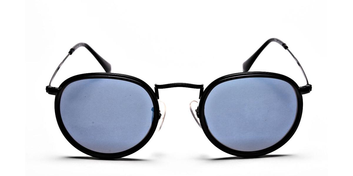 Blue Metal Round Sunglasses - 2