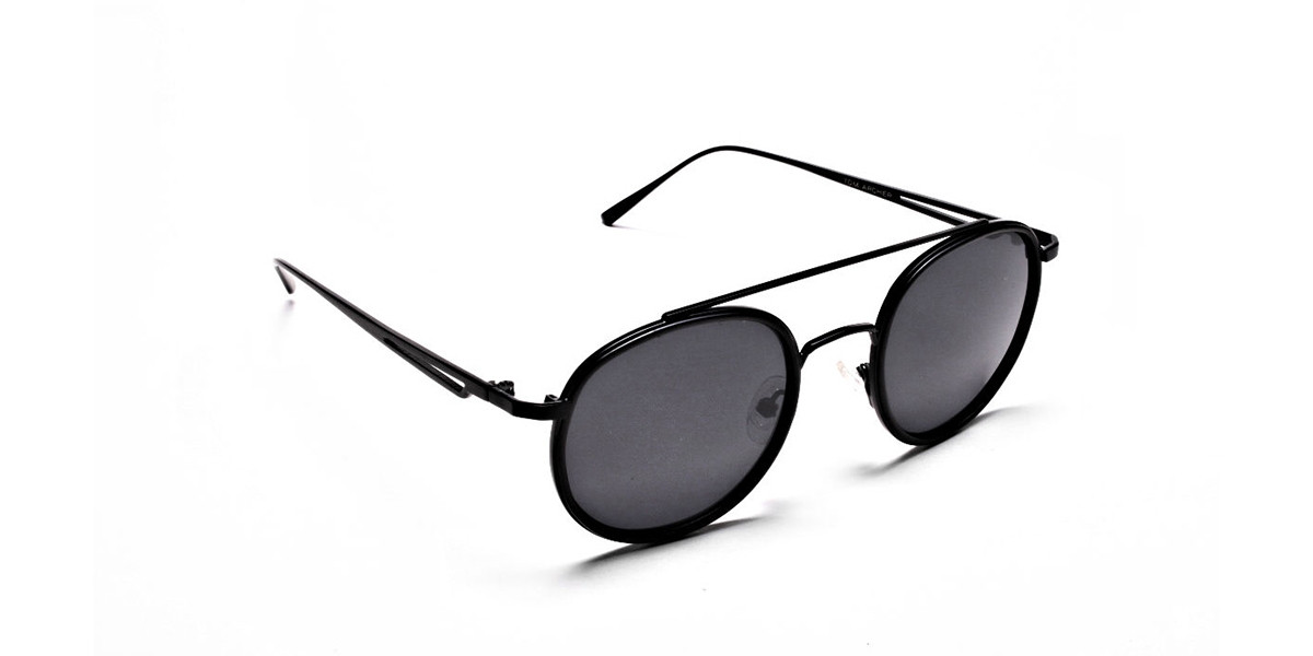 Black Round Metal Sunglasses - 2