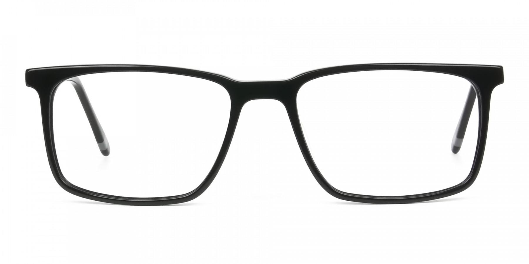 Designer Black Glasses Rectangular - 1