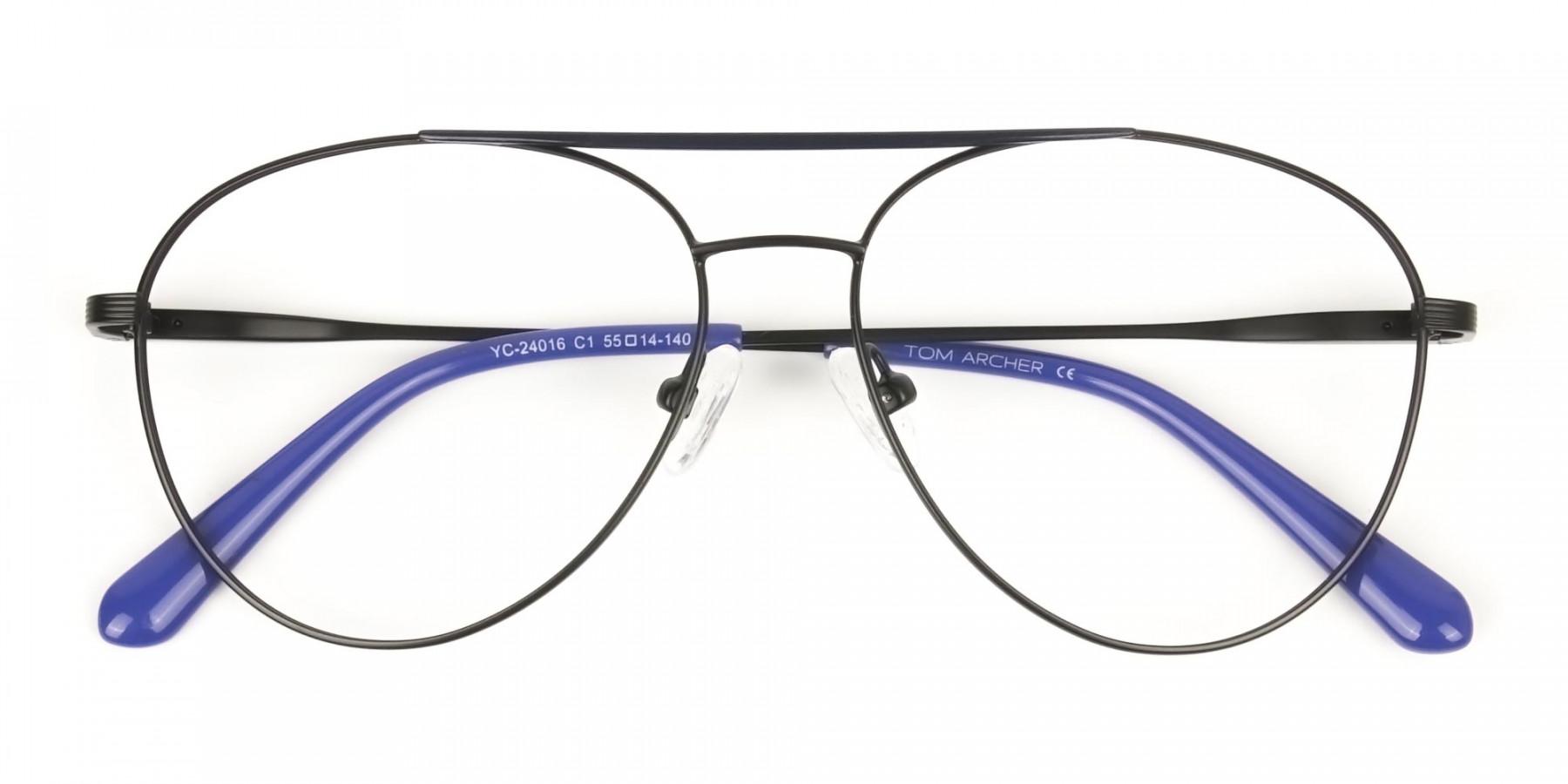 Black Flat Bridge Metal Aviator Glasses - 1