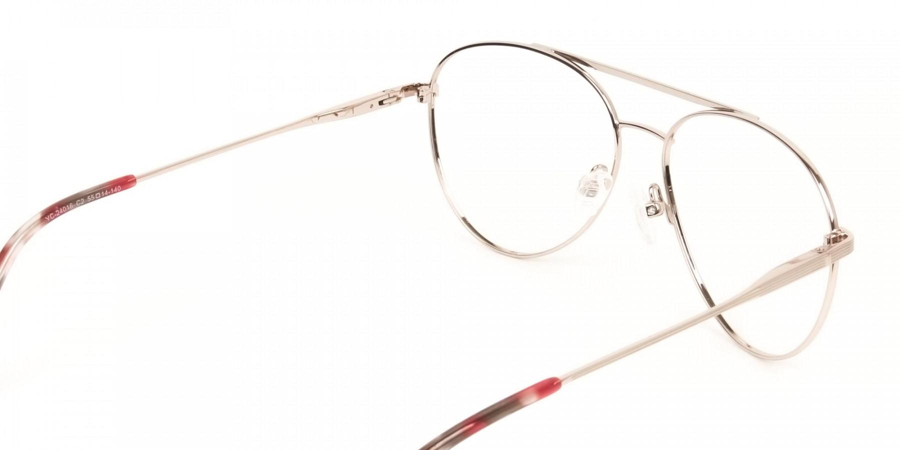 Red & Gold Flat Bridge Aviator Glasses in Metal - 1