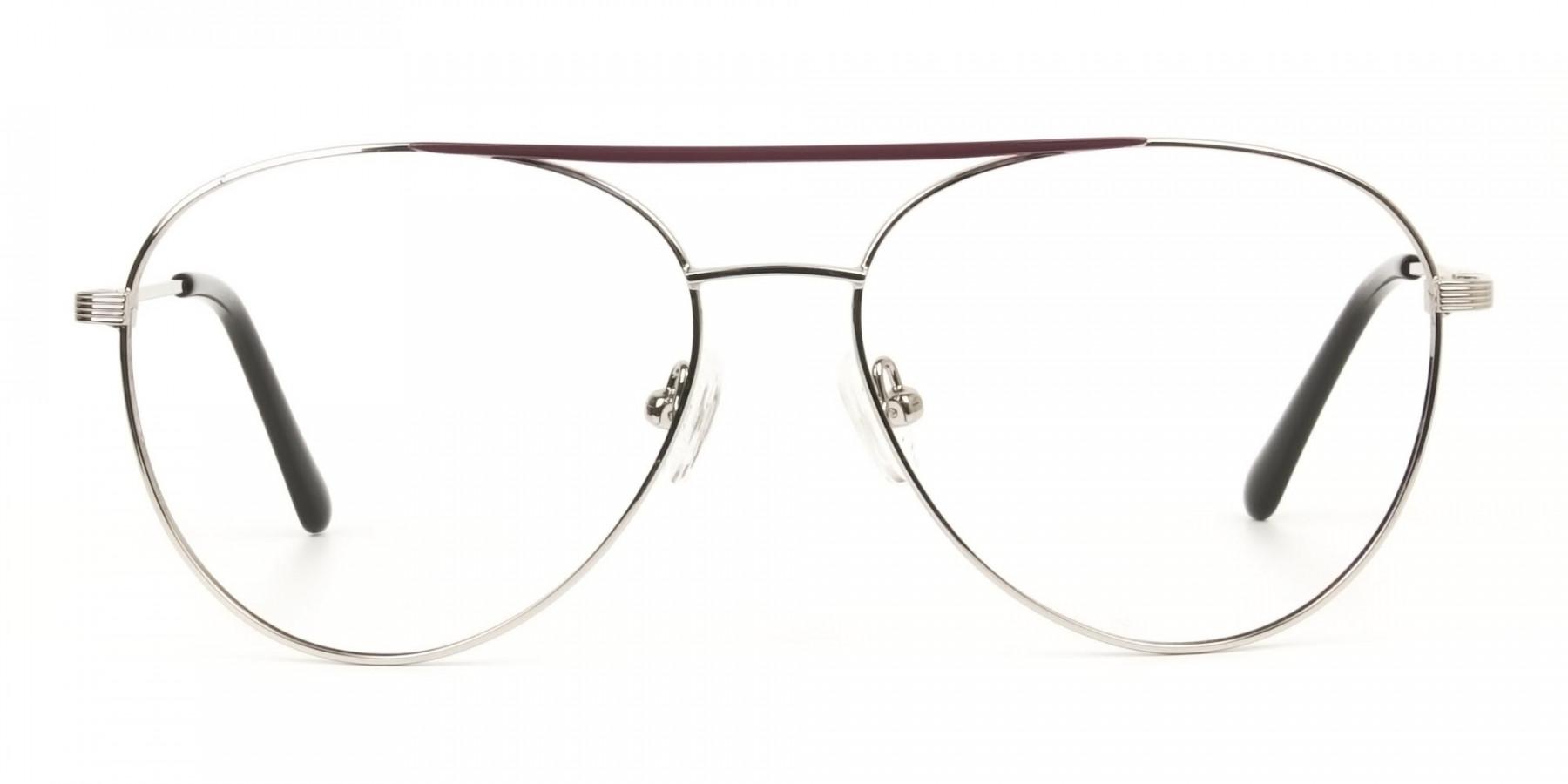 Silver and Brown Flat Bridge Aviator Glasses - 1