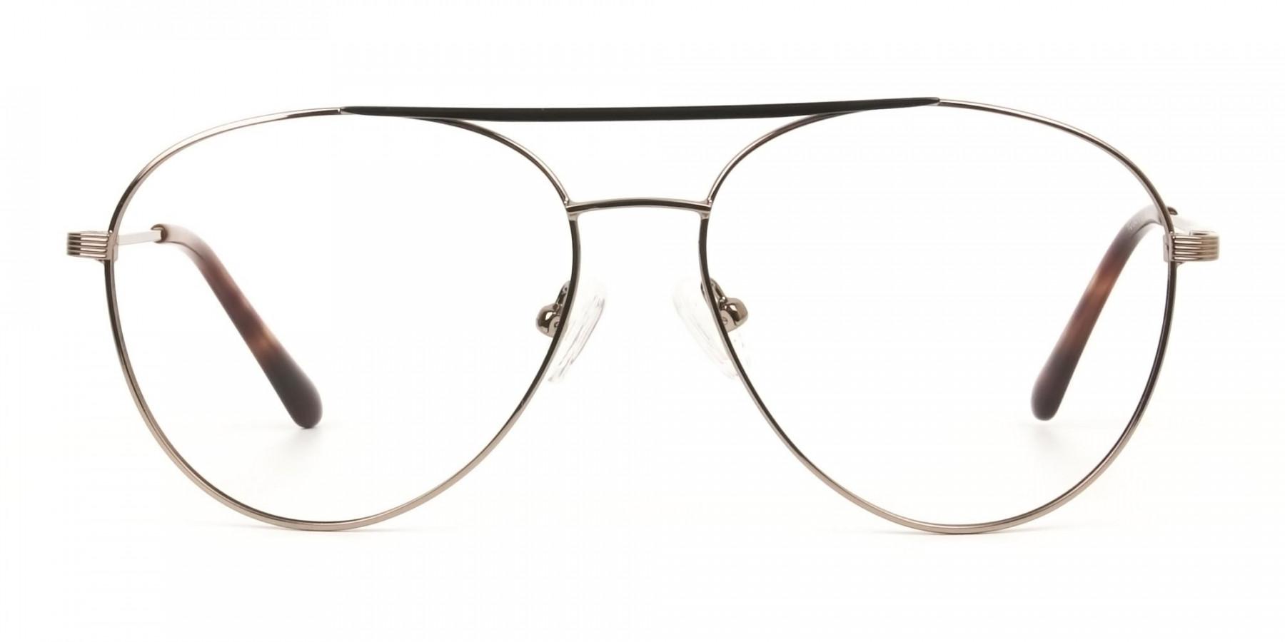 Black Bronze Flat Bridge Aviator Glasses in Metal - 1