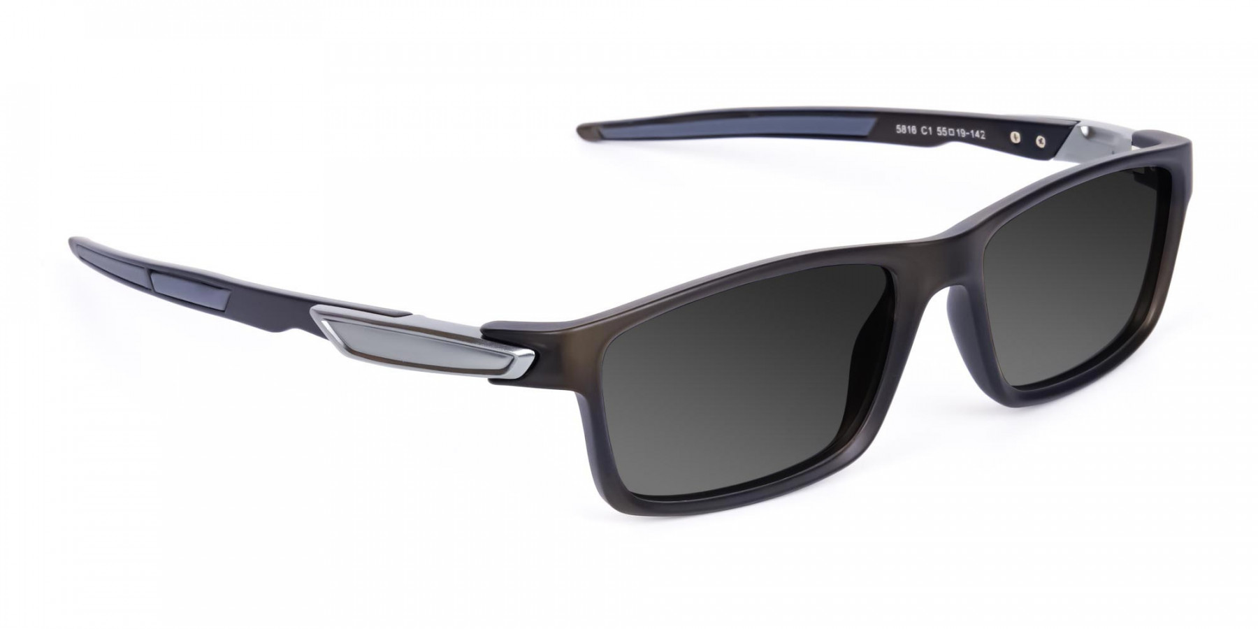 Black Rectangle Cycling Sunglasses For Men & Women with Grey Tint-3
