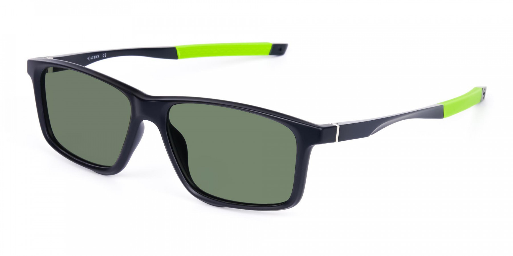 Black and Green Rectangle photochromic sunglasses cycling -3