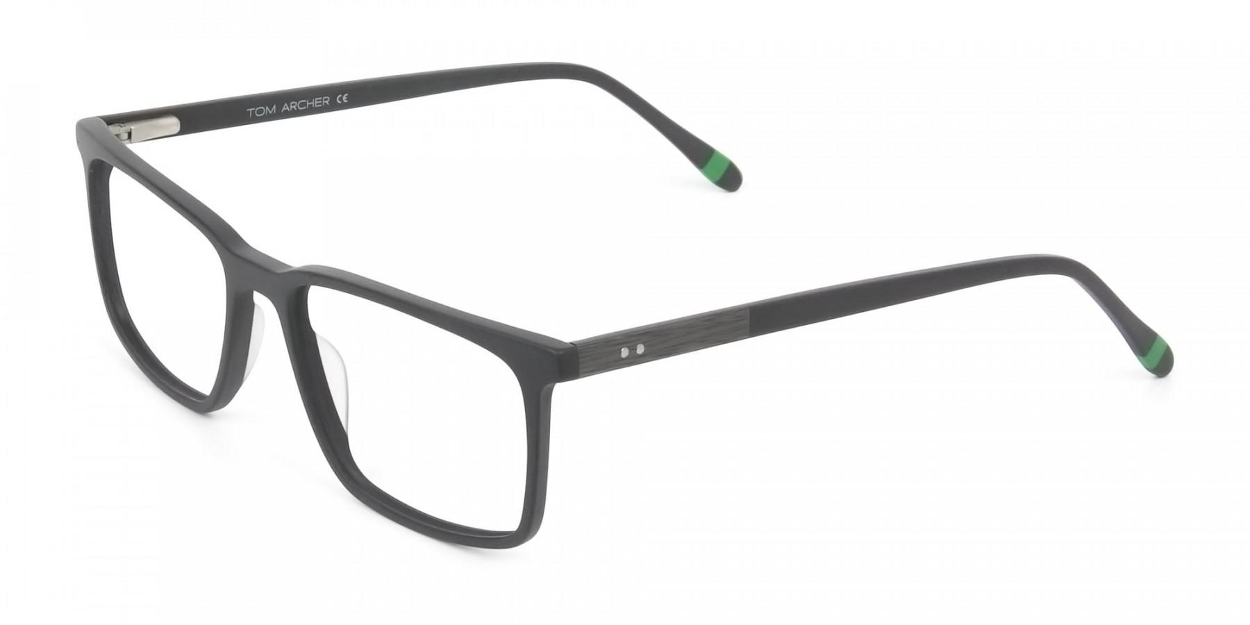 Designer Matte Grey Glasses Rectangular - 1