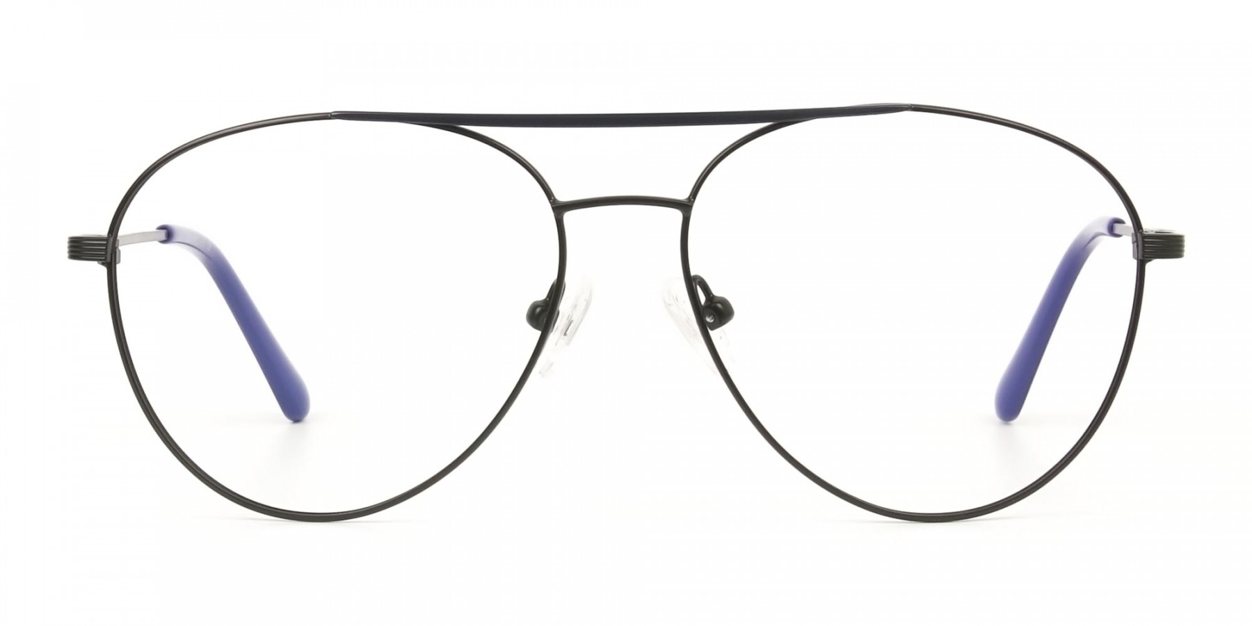 Black Flat Bridge Metal Aviator Glasses - 1