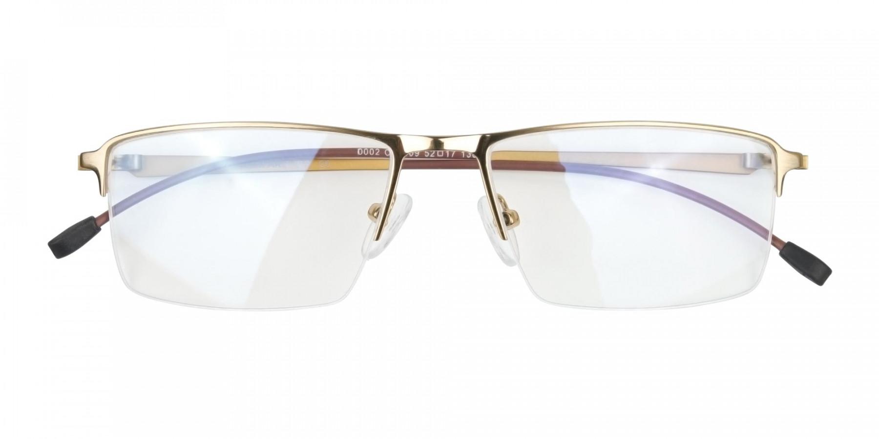 Gold Semi-Rim Glasses with Spring Hinges-1