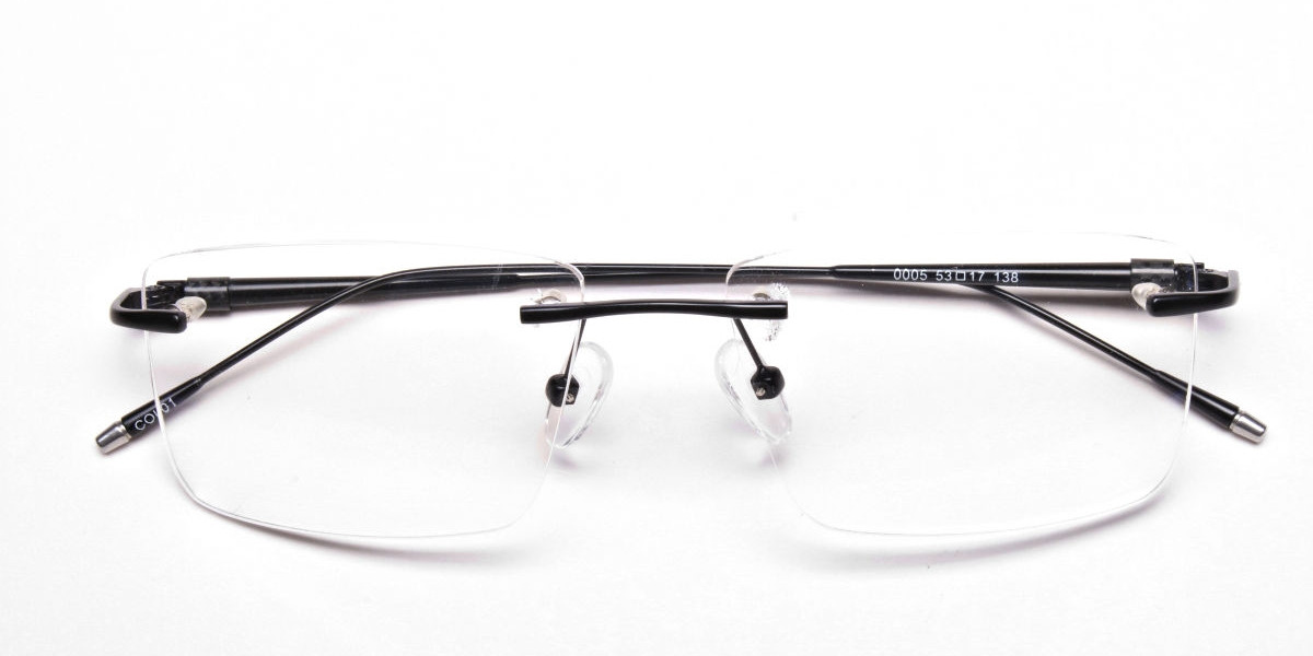 Rimless Glasses in Black for Men & Women -1