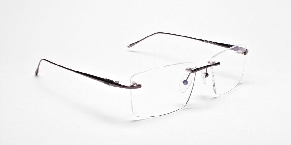 Rimless Glasses in Gunmetal for Men & Women - 1