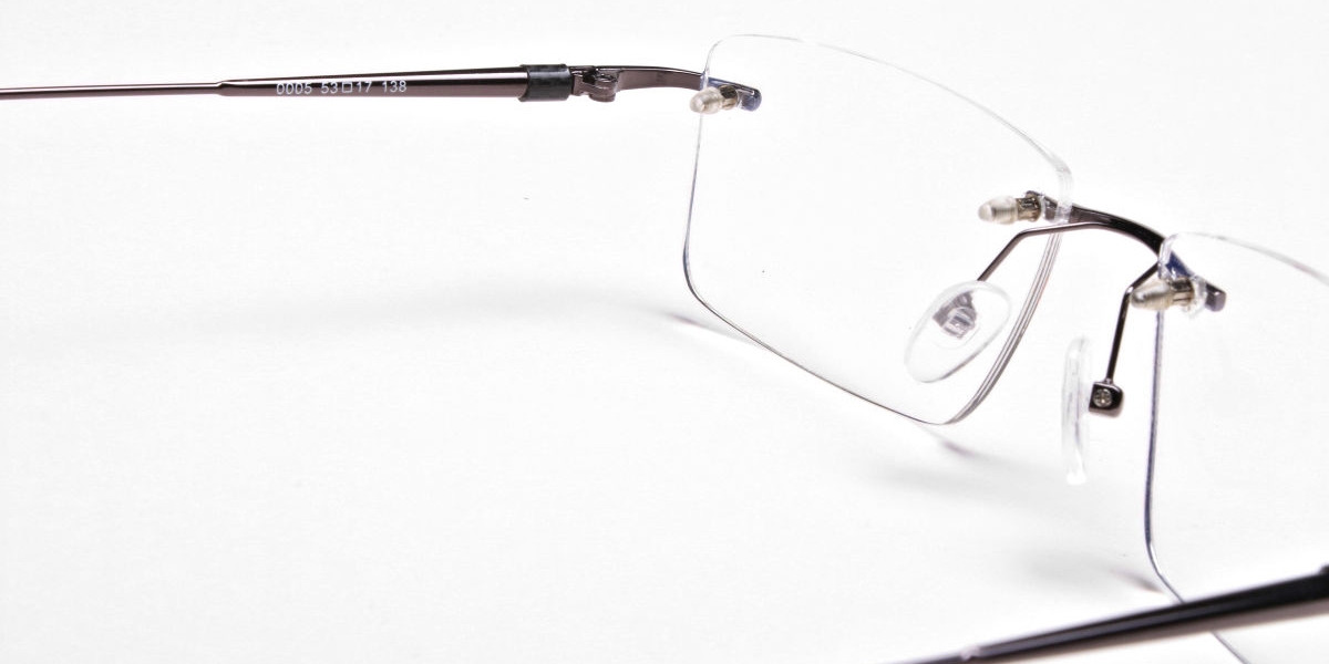 Rimless Glasses in Gunmetal for Men & Women - 1