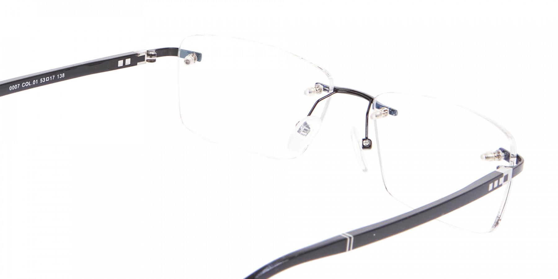 Fine Rectangular Rimless Frame Black-1