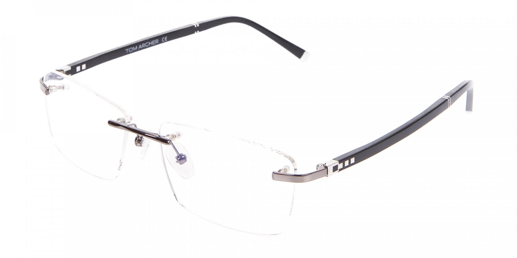 Detailed Rimless Glasses & Ticker Temple-1