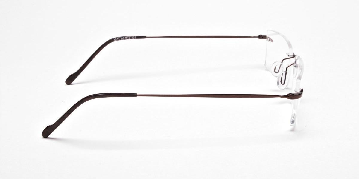 Rimless Glasses in Brown for Men & Women- 1