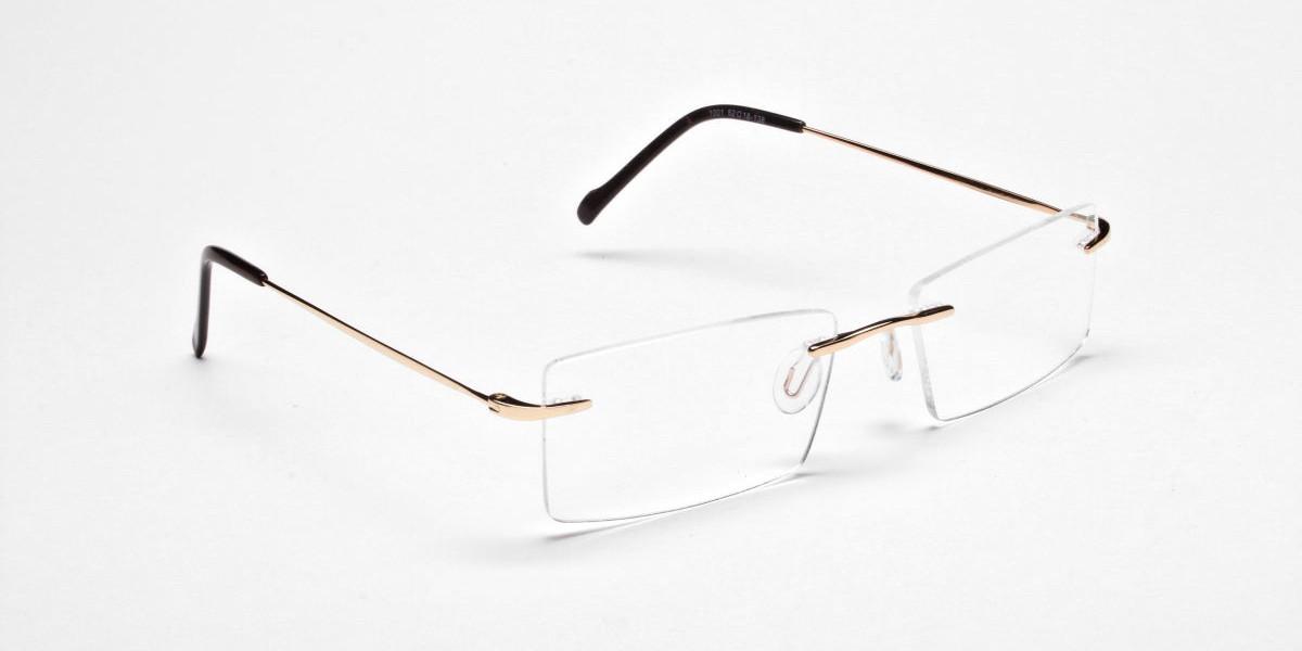 Rimless Glasses in Gold for Men & Women - 1