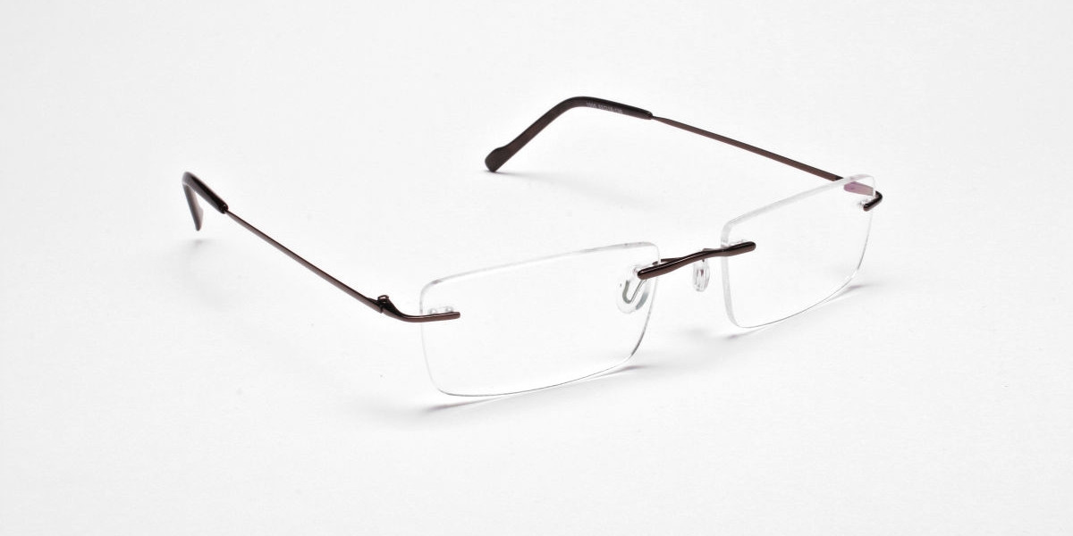 Rimless Glasses in Brown for Men & Women - 1