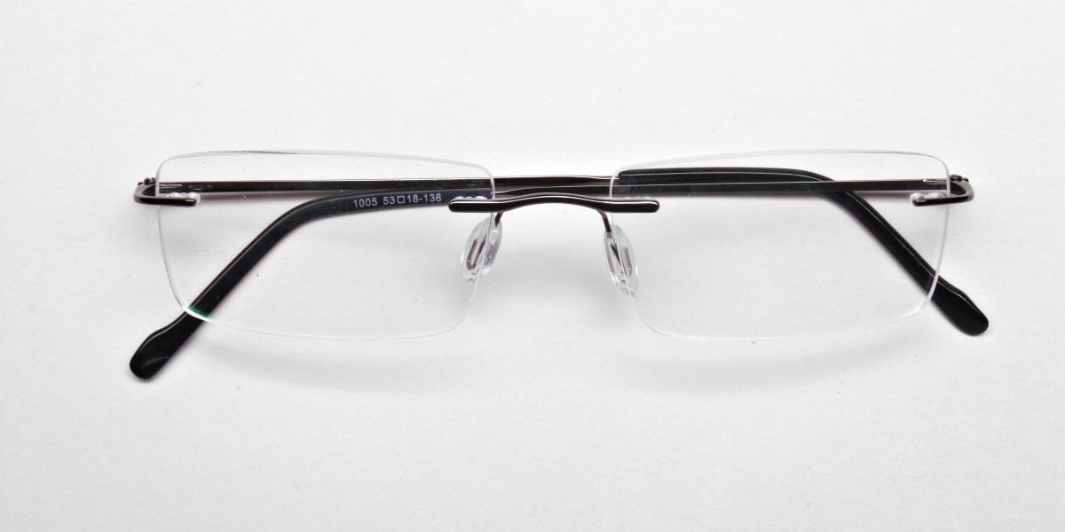 Rimless Glasses in Gunmetal