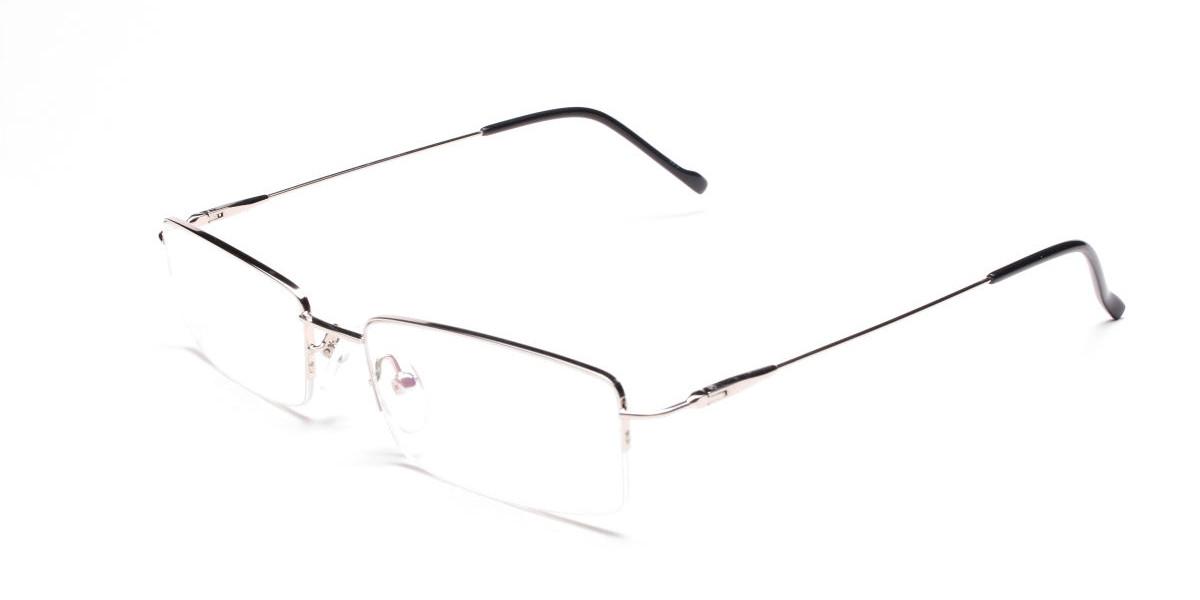 Rectangular Glasses in Silver, Eyeglasses - 1