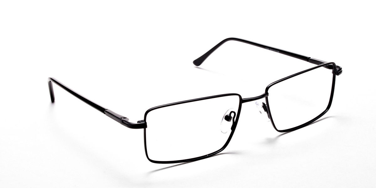 Rectangular Eyeglasses in Black, Eyeglasses - 1