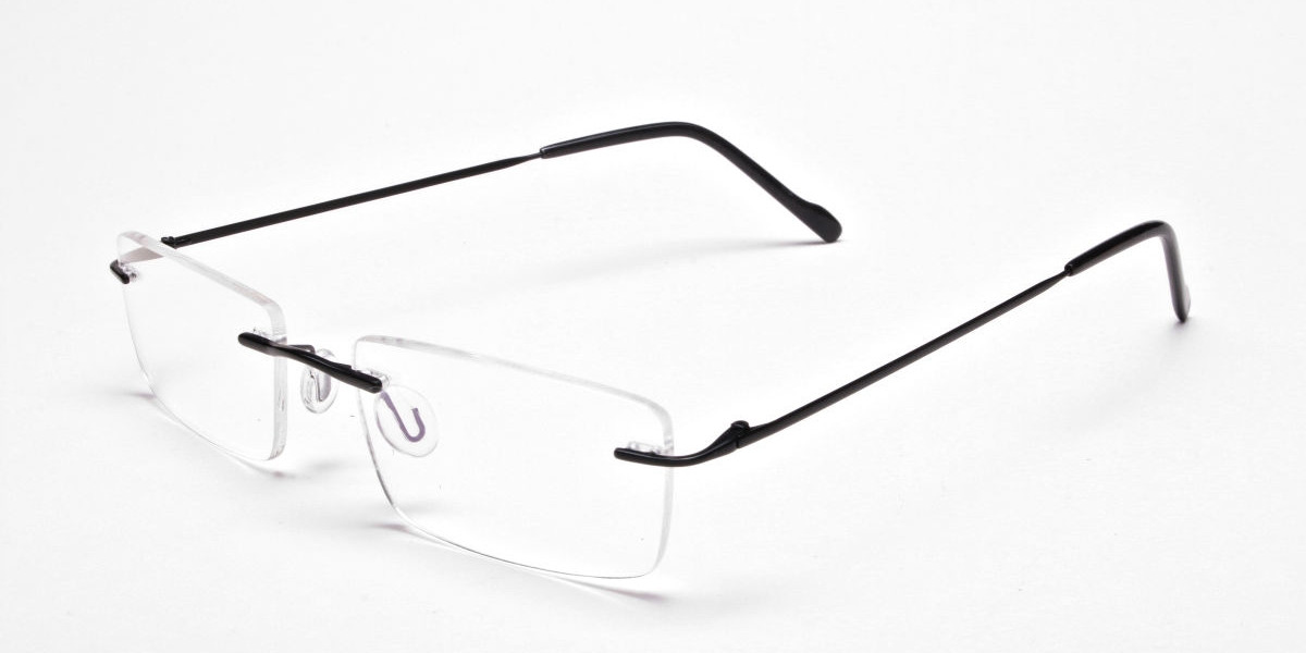 Rimless Glasses in Black for Men & Women - 1