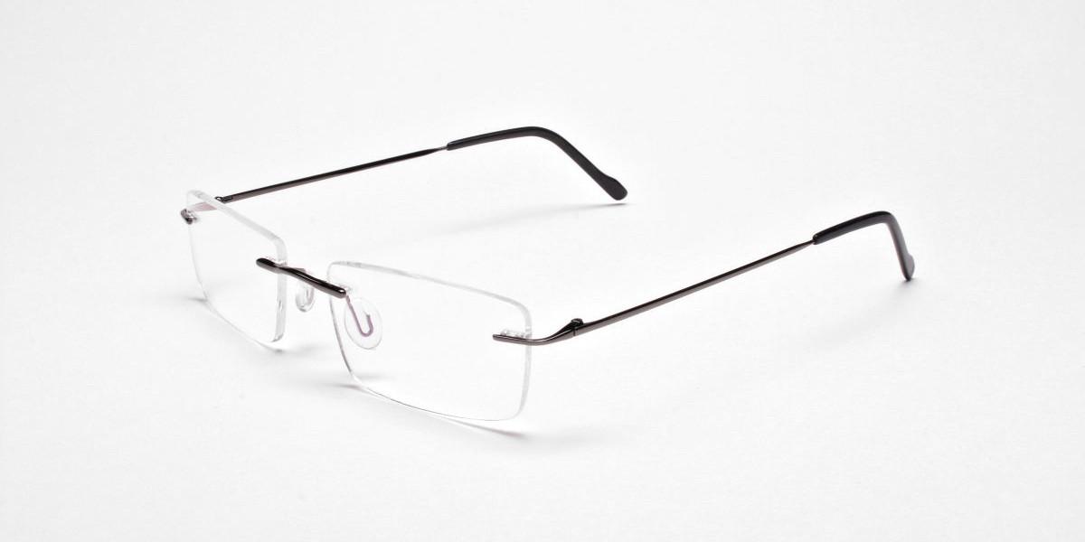Rimless Glasses in Gunmetal