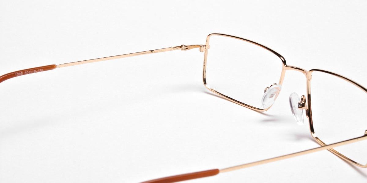 Rectangular Glasses in Gold, Eyeglasses - 1